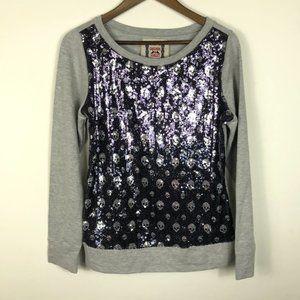 Chelsea & Violet Gray Shirt Sequin Skulls Purple